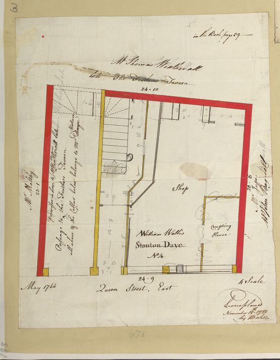 [2 Plan of property No. 4 in Queen Street occupied by William Wallis, dated May 1766]. With annotation 'Lease planed November 18th 1783 by I. Baker']